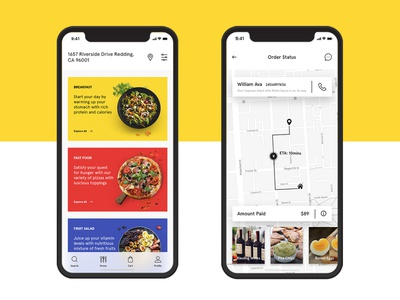 Food Delivery App Design for a Startup map location listing food ordering app android iphone ios app mobile delivery app design ux ui