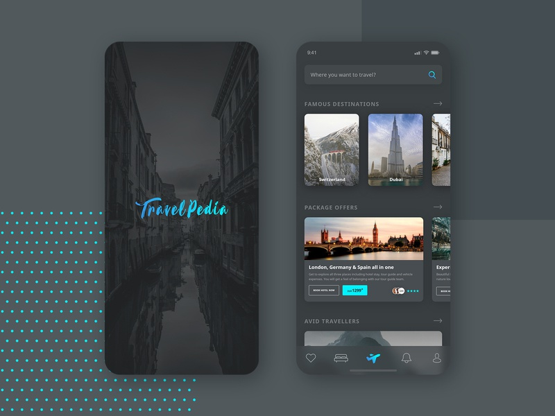 Travel App Re-design listing holiday travel booking styling android ios iphone search bottom layout cards theme dark design app mobile travel app ux ui