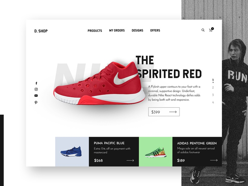 Shoe ecommerce web design concept design banner marketplace ecommerce shoe redesign website shopping product listing menu ux ui concept desktop layout web