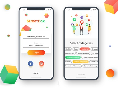 Streetbox - Coupons and Discount app design color marketplace ecommerce shopping android iphone ios material styling cards cart illustration offers coupons discount design app mobile ui ux