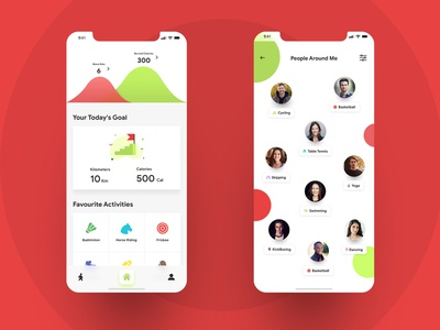 Walkato - Fitness App UI Design community activity interface app iphone android ios mobile tracking health fitness design ux ui