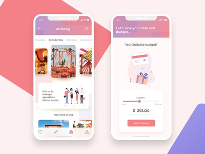 Event Planner App - Mobile UI Design listing booking app mobile wedding design illustration cards planning event interaction android ios ux ui