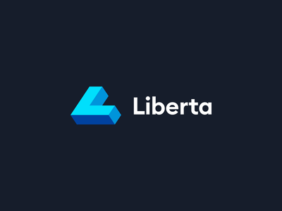 Liberta dark blues minimalist logotype minimalism illustrator flat vector minimal logo design branding