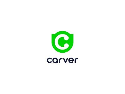 Carver minimalistic icon minimalist c letter logo c green pastel logotype minimalism illustrator flat vector minimal logo design branding