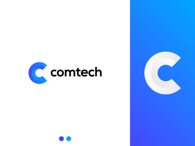 Comtech c letter c logodesign blue icon minimalistic minimalist minimalism logotype illustrator flat vector minimal logo design branding