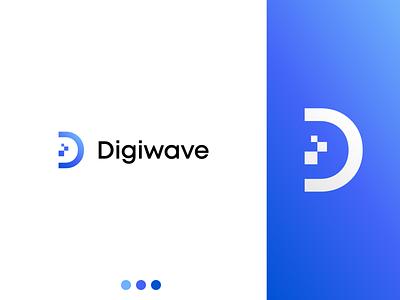 Digiwave modern it digital wave blue pastel illustrator minimalist logotype minimalism flat vector minimal logo design branding
