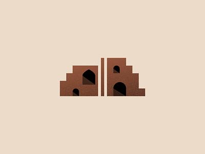 Old Building brown retro old sand building grain minimalistic noise vector illustrator minimalist logotype minimalism flat minimal logo design branding