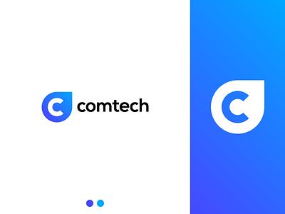 Comtech letter c c logodesign blue icon minimalistic minimalist logotype minimalism flat vector minimal logo design branding