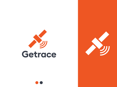 Getrace red orange satellite satelite sat logodesign icon minimalistic minimalist minimalism flat vector minimal logo design branding