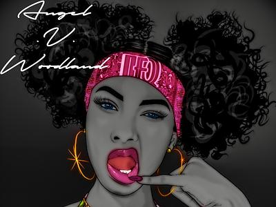 Bite My Drip digital design graphic drawing art woman bandana