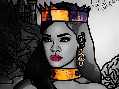 👸🏻 digital art art painting drawing woman queen