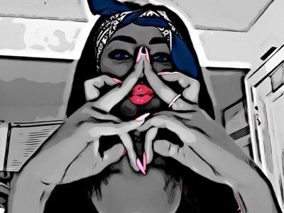 Star Girl bandana six point star star of david sketch lady graphic girl design woman digital art painting drawing art