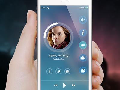 Audio Playing app application interface ios mockup ui ios7 ios8 menu profile audio video