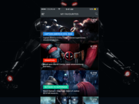 Favourite super hero movies - 2016 ux ui promo movies modern dark