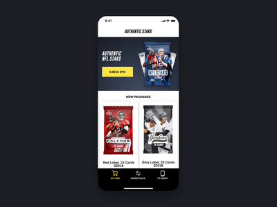 Authentic - Digital Cards on Blockchain 3d football nfl gesture interaction gamification play cards sport ui ios animation