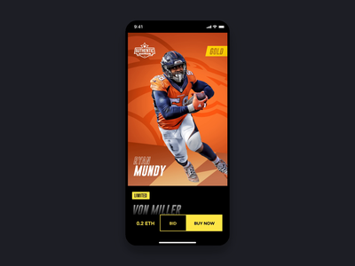 Authentic - Limited Card Animation cryptocurrency typography signature strv player card perspective sport play nfl 3d ios football cards animation