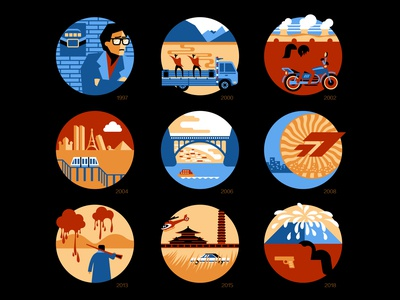 Icon set of Chinese director Jia Zhangke's movies