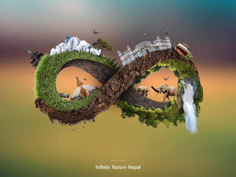 Infinity Nature Nepal poster design nature love 3d illustration manipulation illustration