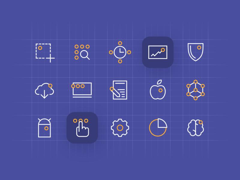 Miquido's icon set brand identity geometric icon set icons miquido