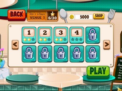 Level Select diner dash playfirst ux ui iphone hud game level select