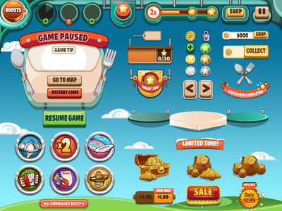 UI for Diner Dash iphone ui playfirst diner dash coins boosts modal stars buttons game