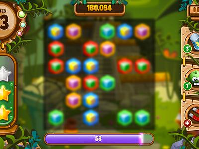 Safari Scramble ui jungle temple icons match 3 vector game art game ui game