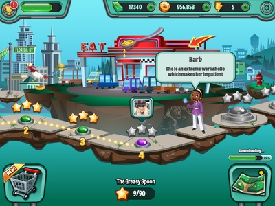 Citymap UI for Diner Dash diner dash game mobile game game ui city map