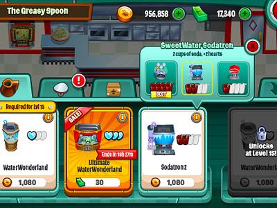 Diner Dash store  game ui mobile game game store diner dash