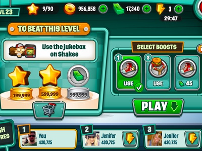 Intro screen  ui game game mobile ios diner dash intro stars boosts
