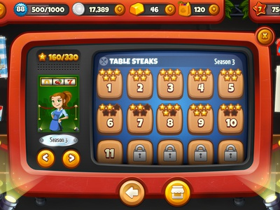 Cooking Dash Level Select level select cooking dash game ui game ui