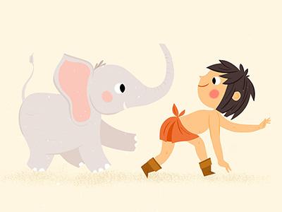 Jungle Book animal illustration jungle book elephant kids illustration jungle kidlitart mowgli childrens book childrens illustration forest animals illustration