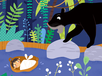 Mowgli and Bagheera animal illustration jungle book jungle book illustration jungle kidlitart childrens book bagheera mowgli childrens illustration jungle animals illustration