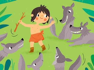 With the wolves animal illustration jungle book wolves jungle book illustration jungle kidlitart childrens book bagheera mowgli childrens illustration jungle animals illustration