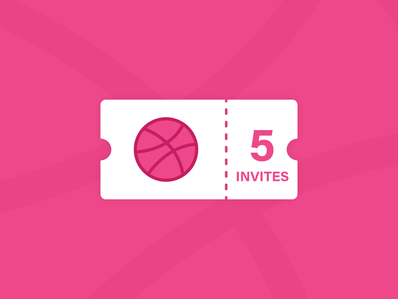 5 dribbble invites ticket vector dribble illustration pink ball flat illustration invites giveaway invites dribbble dribbble invite design