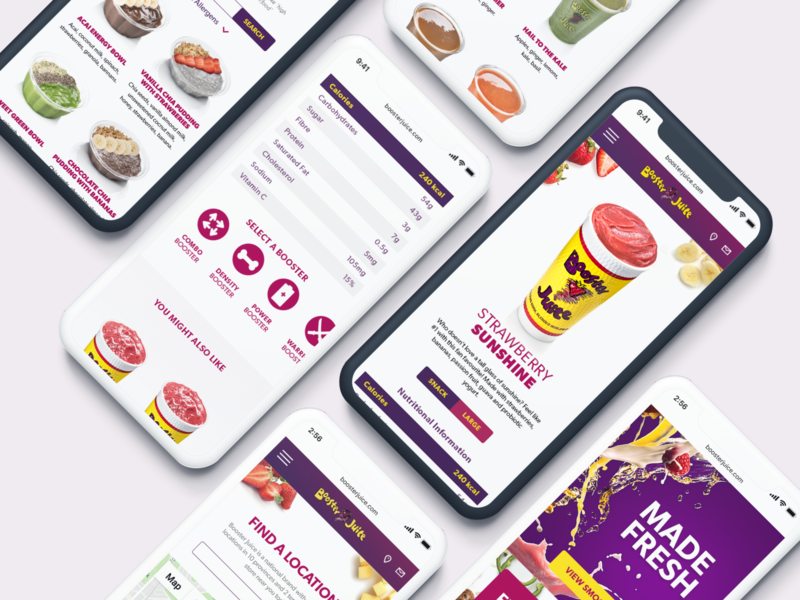 Booster Juice website mobile juice bar smoothies food and drink food and beverage figma product design ui ux