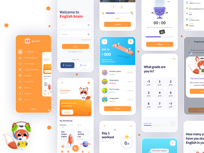 English brain kids iconography illustration picker courses ios category lesson homepage card education mobile list icon flat app search minimal ux ui