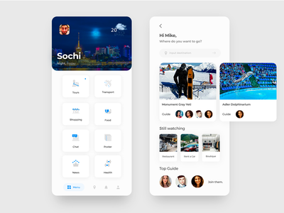 Travel app web ui ux interace search tours minimal list illustration icon sochi moscow travel flat design app