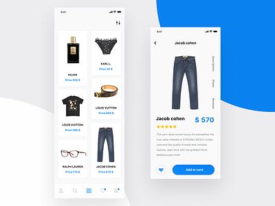 Shop brand cart list flat app ux ui search minimal design