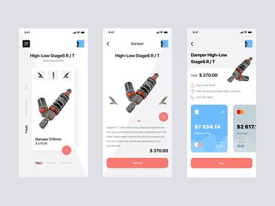 Tuning shop delivery detail moto shop ecommerce cart app search minimal design ux ui