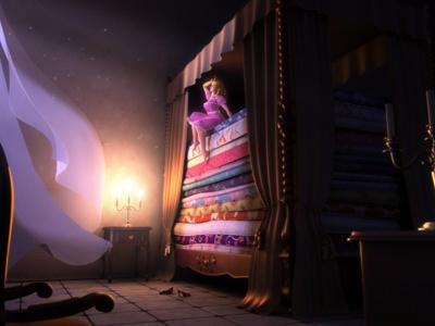The Princess and The Pea 3d illustrations 3d cg art oasim pixelophy fairytale scene princess magical