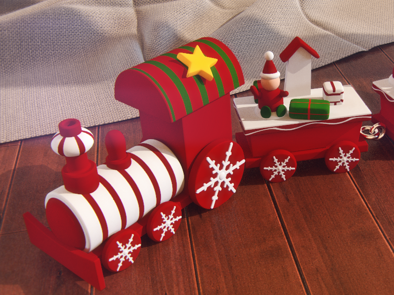 3d Wooden ChristmasTrain 3d christmas 3d model wooden train 3d toy