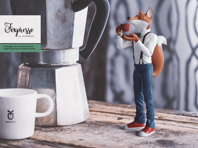 Foxpresso Red Fox Edition art toy designer toy toy artist toy maker toy design hand painted 3d printed zbrush sculpt zbrush artist toy sculptor toy designer 3d artist foxpresso
