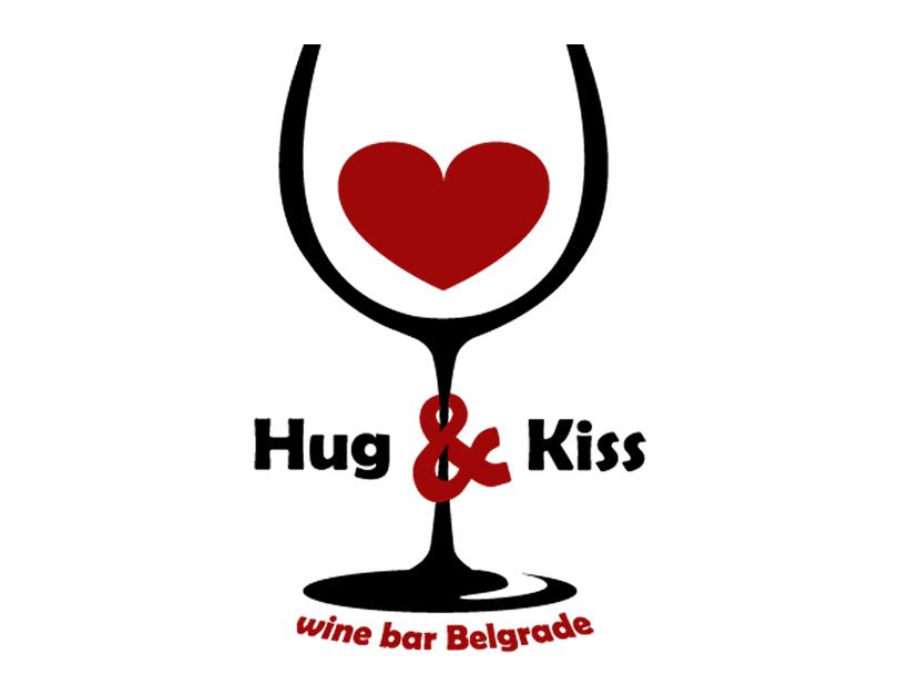 """HUG&KISS"" wine bar Belgrade heart wine bar bar wine glass icon emotions adobe photoshop adobe illustrator graphic designer graphic artist graphic art graphic design logo design vector design branding logo illustration"