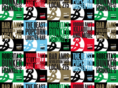 """Eater X Brooklyn Brewery """"Gig posters"""" posters typogaphy"""