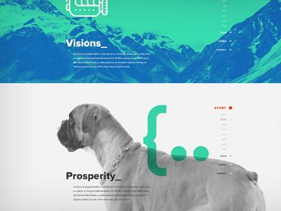 New website for Artbees - Shot 2 web design web website overlay slide blue green nav vertical nav