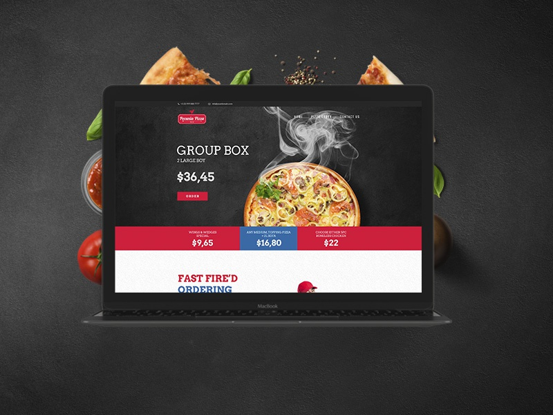 Pecunia theme wordpress one page template pizza