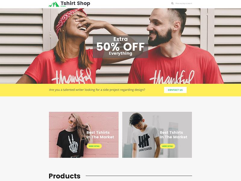 Free T-Shirt Shop Webpage PSD Template Giveaway free template t shirt shop online shop shop giveaway wordpress template webdesign website template wordpress