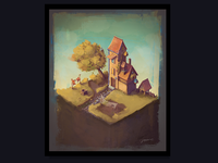 Old cute house, 2D Painting