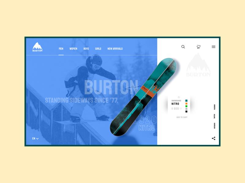 Burton store site shop sport web concept branding ux ui design