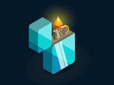Chillfire isometric lighter design vector illustration